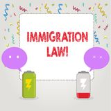Text sign showing Immigration Law. Conceptual photo National Regulations for immigrants Deportation rules. Text sign showing Immigration Law. Conceptual photo stock illustration