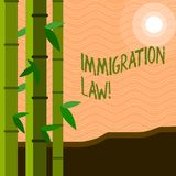 Text sign showing Immigration Law. Conceptual photo National Regulations for immigrants Deportation rules. Text sign showing Immigration Law. Conceptual photo royalty free illustration