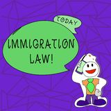 Text sign showing Immigration Law. Conceptual photo National Regulations for immigrants Deportation rules. Text sign showing Immigration Law. Conceptual photo vector illustration