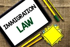Text sign showing Immigration Law. Conceptual photo National Regulations for immigrants Deportation rules written on Tablet on the stock photos