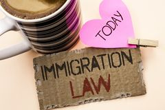 Text sign showing Immigration Law. Conceptual photo National Regulations for immigrants Deportation rules written on Tear Cardboar. Text sign showing Immigration stock photo