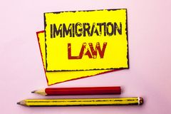 Text sign showing Immigration Law. Conceptual photo National Regulations for immigrants Deportation rules written on Yellow Sticky. Text sign showing Immigration royalty free stock image