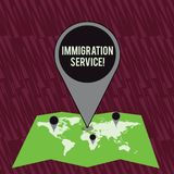 Text sign showing Immigration Service. Conceptual photo responsible for law regarding immigrants and immigration. Text sign showing Immigration Service. Business royalty free illustration