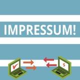 Text sign showing Impressum. Conceptual photo Impressed Engraved Imprint Geranalysis statement ownership authorship royalty free illustration
