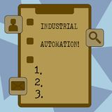 Text sign showing Industrial Automation. Conceptual photo Use of control systems to handle industrial process Clipboard royalty free illustration