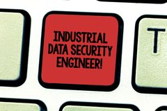 Text sign showing Industrial Data Security Engineer. Conceptual photo Technology network system engineering Keyboard key. Intention to create computer message stock image