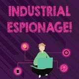 Text sign showing Industrial Espionage. Conceptual photo form of espionage conducted for commercial purposes Woman. Text sign showing Industrial Espionage royalty free illustration