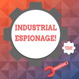Text sign showing Industrial Espionage. Conceptual photo form of espionage conducted for commercial purposes Big and. Text sign showing Industrial Espionage royalty free illustration