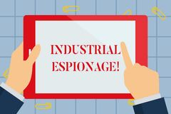 Text sign showing Industrial Espionage. Conceptual photo form of espionage conducted for commercial purposes Hand. Text sign showing Industrial Espionage royalty free illustration