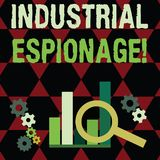 Text sign showing Industrial Espionage. Conceptual photo form of espionage conducted for commercial purposes Magnifying. Text sign showing Industrial Espionage stock illustration
