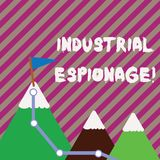 Text sign showing Industrial Espionage. Conceptual photo form of espionage conducted for commercial purposes Three. Text sign showing Industrial Espionage stock illustration