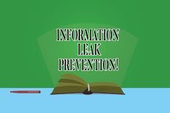 Text sign showing Information Leak Prevention. Conceptual photo Inhibiting critical information to outflow Color Pages. Of Open Book photo on Table with Pen and royalty free illustration