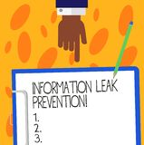 Text sign showing Information Leak Prevention. Conceptual photo Inhibiting critical information to outflow Hu analysis. Hand Pointing Down to Clipboard with vector illustration