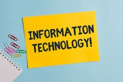 Text sign showing Information Technology. Conceptual photo use Systems to Store Retrieve Transmit Send Data Plain. Text sign showing Information Technology stock photography