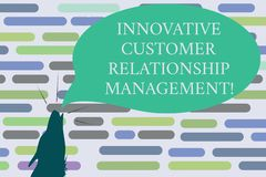 Text sign showing Innovative Customer Relationship Management. Conceptual photo Client positive feedback Contour shape of Wolf. Head Pointing upward Howling royalty free stock image