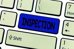 Text sign showing Inspection. Conceptual photo Careful examination or scrutiny Investigation Review Evaluation.  royalty free stock image