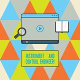 Text sign showing Instrument And Control Engineer. Conceptual photo Automation engineering Industrial equipment Tablet Video. Player Uploading Downloading and royalty free stock image