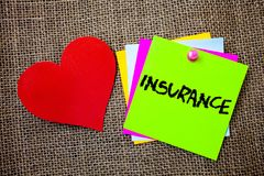 Text sign showing Insurance. Conceptual photo Policy for financial protection or reimbursement against losses Ideas things to do m. Essages intentions heart love royalty free stock photography
