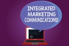 Text sign showing Integrated Marketing Communications. Conceptual photo Linked all forms or communication Certificate Layout on. Laptop Screen and Blank royalty free stock images