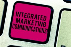 Text sign showing Integrated Marketing Communications. Conceptual photo Linked all forms or communication Keyboard key. Intention to create computer message stock photo