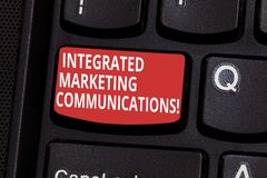 Text sign showing Integrated Marketing Communications. Conceptual photo Linked all forms or communication Keyboard key. Intention to create computer message stock images