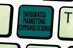 Text sign showing Integrated Marketing Communications. Conceptual photo Linked all forms or communication Keyboard key. Intention to create computer message royalty free stock photography