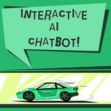 Text sign showing Interactive Ai Chatbot. Conceptual photo computer program that simulates huanalysis conversation Car with Fast royalty free illustration