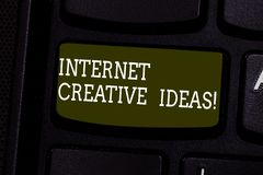 Text sign showing Internet Creative Ideas. Conceptual photo ability to make new things or think of new ideas Keyboard. Key Intention to create computer message royalty free stock photo
