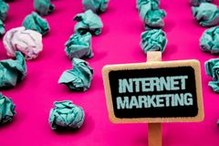 Text sign showing Internet Marketing. Conceptual photo Online Commerce Networking Entrepreneur Entrepreneurship Blackboard with wh. Ite letter pink base much royalty free stock images