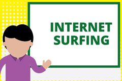 Text sign showing Internet Surfing. Conceptual photo browsing hundred of websites using any installed browser Young man. Text sign showing Internet Surfing vector illustration