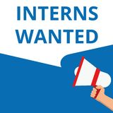 Text sign showing Interns Wanted royalty free illustration