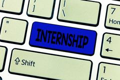 Text sign showing Internship. Conceptual photo Student Trainee working on organization to gain experience.  stock images