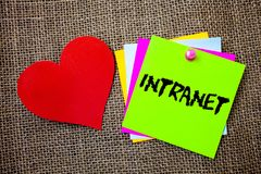 Text sign showing Intranet. Conceptual photo Private network of a company Interlinked local area networks Ideas things to do messa. Ges intentions heart love stock photos