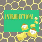 Text sign showing Introduction. Conceptual photo First part of a document Formal presentation to an audience. Text sign showing Introduction. Conceptual photo vector illustration