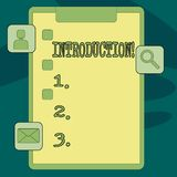 Text sign showing Introduction. Conceptual photo First part of a document Formal presentation to an audience Clipboard. Text sign showing Introduction. Business vector illustration