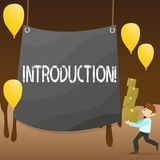 Text sign showing Introduction. Conceptual photo First part of a document Formal presentation to an audience Man. Text sign showing Introduction. Business photo royalty free illustration