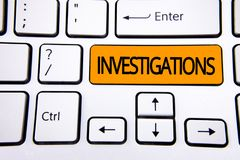 Text sign showing Investigations. Conceptual photo Formal inquiry Systematic Study Examination Research Analysis written on Orange. Text sign showing Royalty Free Stock Photography
