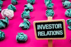 Text sign showing Investor Relations. Conceptual photo Finance Investment Relationship Negotiate Shareholder Blackboard with white. Letter pink base much green stock photography