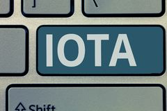 Text sign showing Iota. Conceptual photo Crypto currency platform Ledger that records the online transactions.  stock photography