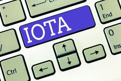 Text sign showing Iota. Conceptual photo Crypto currency platform Ledger that records the online transactions.  royalty free stock photos