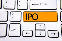 Text sign showing Ipo. Conceptual photo Initial Public Offering First time stock of company is offered to public written on Orange. Text sign showing Ipo Stock Photography