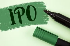 Text sign showing Ipo. Conceptual photo Initial Public Offering First time stock of company is offered to public written on Painte. Text sign showing Ipo Royalty Free Stock Photography