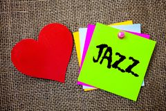 Text sign showing Jazz. Conceptual photo Type of music of black American origin Musical genre Strong rhythm Ideas things to do mes. Sages intentions heart love stock photography