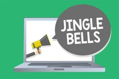 Text sign showing Jingle Bells. Conceptual photo Most famous traditional Christmas song all over the world Man holding megaphone l vector illustration