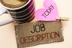 Text sign showing Job Description. Conceptual photo Document that establishes duties requirements exprerience written on Tear Card. Text sign showing Job Stock Photo
