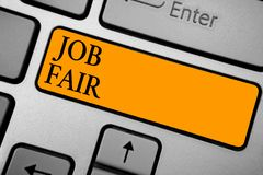 Free Text Sign Showing Job Fair. Conceptual Photo An Event Where A Person Can Apply For A Job In Multiple Companies Keyboard Orange Key Royalty Free Stock Photo - 121449725