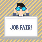Text sign showing Job Fair. Conceptual photo event in which employers recruiters give information to employees Man. Text sign showing Job Fair. Business photo stock illustration