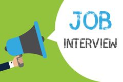 Text sign showing Job Interview. Conceptual photo Assessment Questions Answers Hiring Employment Panel Man holding. Megaphone loudspeaker speech bubble message stock illustration