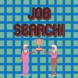 Text sign showing Job Search. Conceptual photo act of looking for employment due to unemployment underemployment Man and. Text sign showing Job Search. Business royalty free illustration