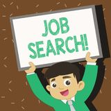 Text sign showing Job Search. Conceptual photo act of looking for employment due to unemployment underemployment Young. Text sign showing Job Search. Business vector illustration